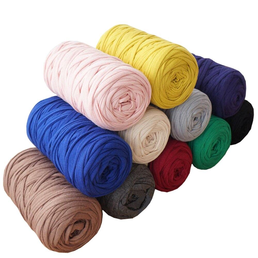 6 adet/paket (1.2kg) T Shirt iplik örme battaniye halı çanta tığ kumaş iplik kumaş kalın konu DIY el iplik