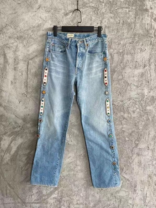 KAPITAL Blue Side Inlaid Gemstone Jeans Pant Men Women 1:1 High Quality high Street Vintage Washed Do Old Trousers Inside Tag
