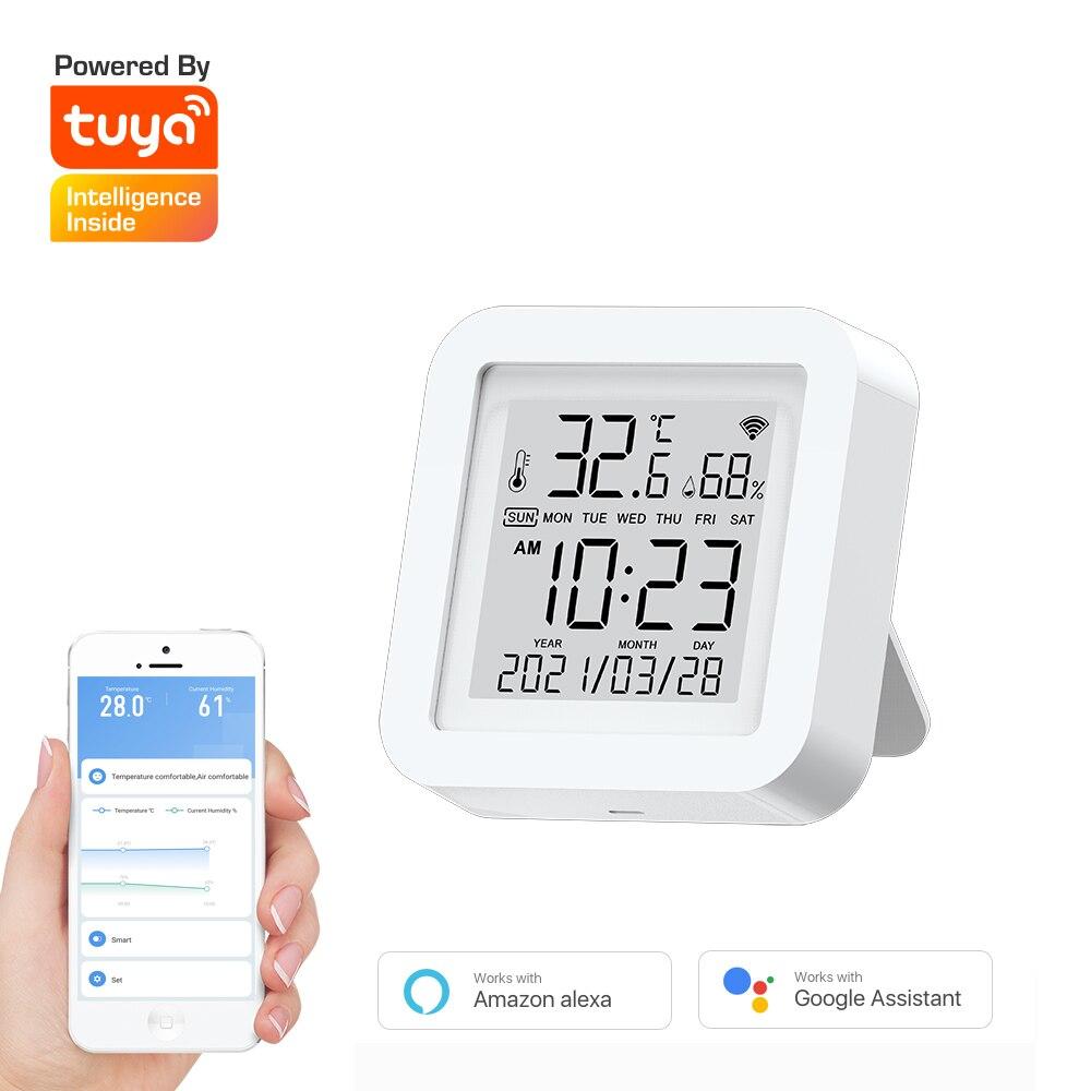 Tuya مستشعر درجة الحرارة والرطوبة صغير مع شاشة LCD رقمية تعمل بالطاقة USB عرض تاريخ الوقت دعم أليكسا جوجل المنزل تطبيق الحياة الذكية