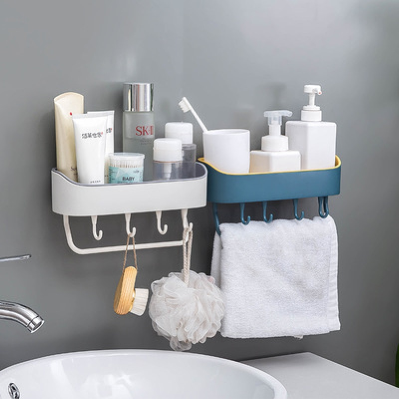 Высококачественные простые неперфорированные настенные стеллажи для ванной комнаты многофункциональные пластиковые стеллажи для хранен...