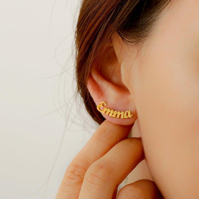 Personalized Name Stainless Steel Letter Stud Earrings For Women Fashion Custom Name Piercing Earrings Nameplate Gift for Her