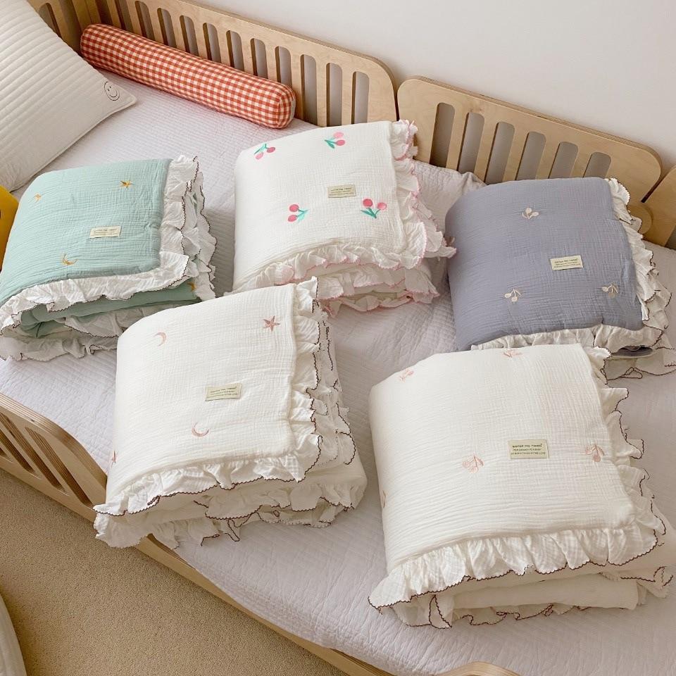 Crib Bedding Korean Quilt Toddler Bed Cover Minky Muslin Baby Cotton Blanket Gauze Bedding Kids Blanket Linen Cot Baby Quilt