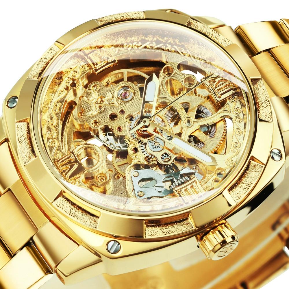 Forsining شفاف الهيكل العظمي ساعة ذهبية للرجال الميكانيكية ساعات المعصم 2021 خمر محفورة ساعات أوتوماتيكية رجالي الصلب