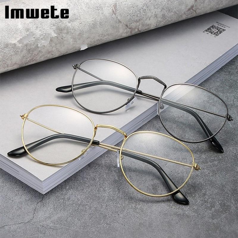 Imwete vintage redondo óculos quadro para mulher clássico óculos quadro masculino anti-blu-ray metal óculos moldura espelho óptico