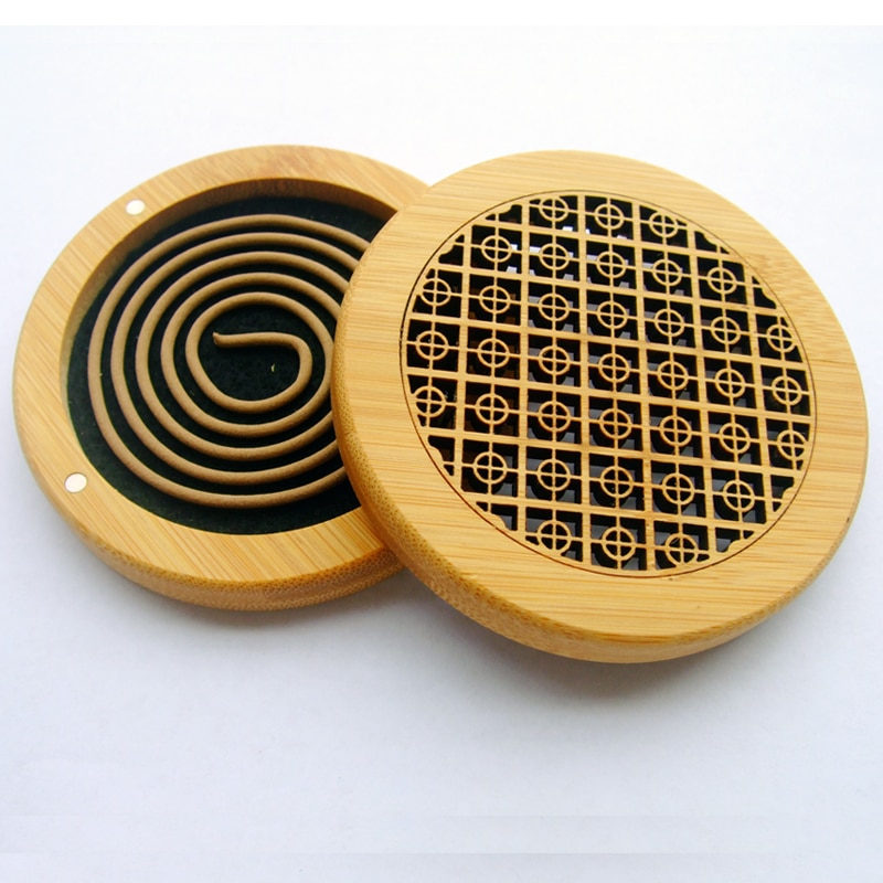 Quemador de incienso de bambú Natural redondo, hueco para tallado con estera ignífuga para incienso de bobina 4H, incensario para decoración del hogar