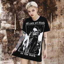 Harajuku Lui T-shirt Vrouwen Gothic Losse Zwarte T-shirt Tops 2020 Zomer Esthetische Oversized T-shirt Vrouwen Kleding Halter Ketting