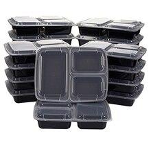 Boîte à Bento réutilisable pour préparation de repas, conteneur 3 compartiments avec couvercles, conteneur de stockage des aliments, boîte à déjeuner pour micro-ondes 50 pièces