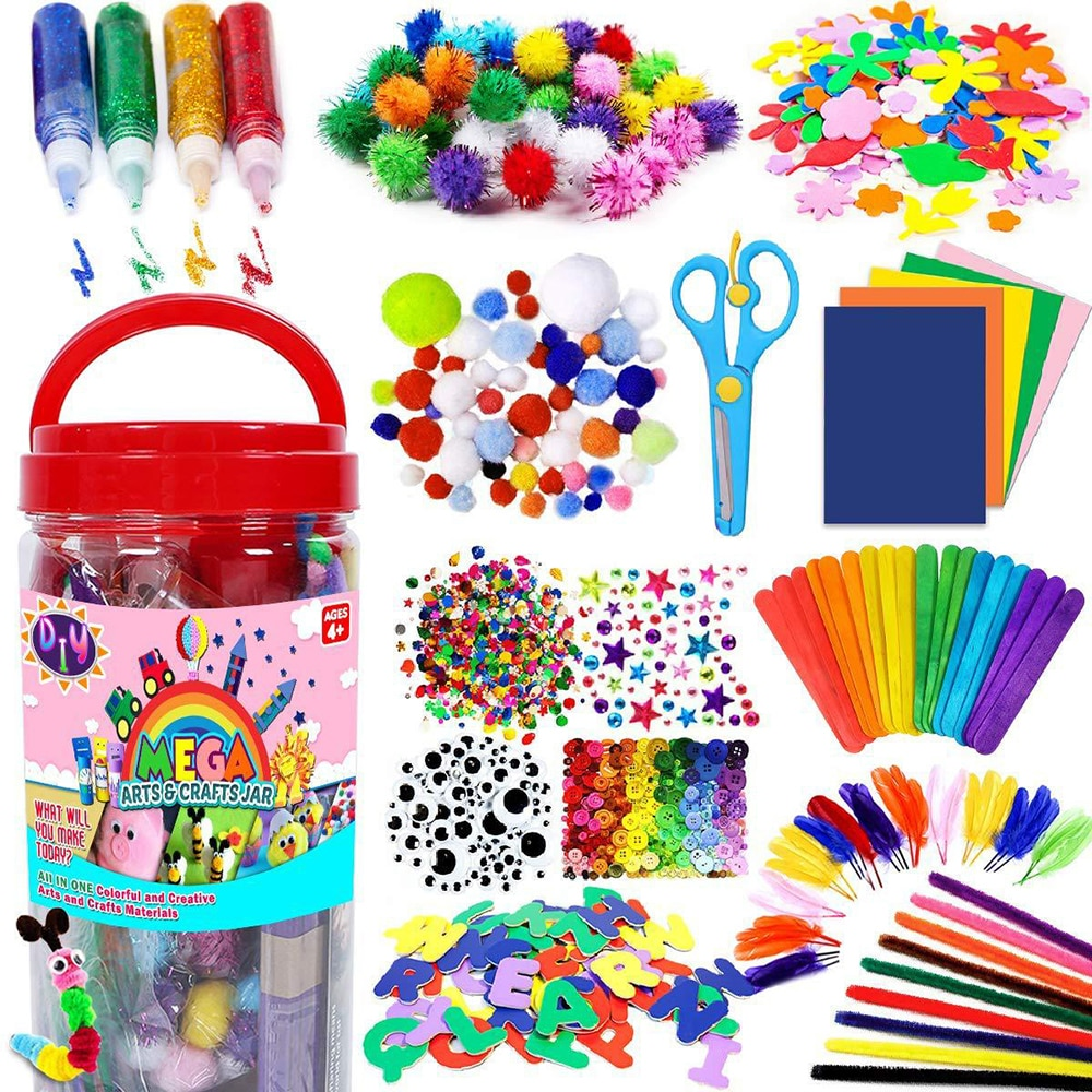 Colorful Plush Sticks Wool Pompoms Materials Kids DIY Montessori Craft Pipe Math Counting Education Stick Child Puzzles Toy