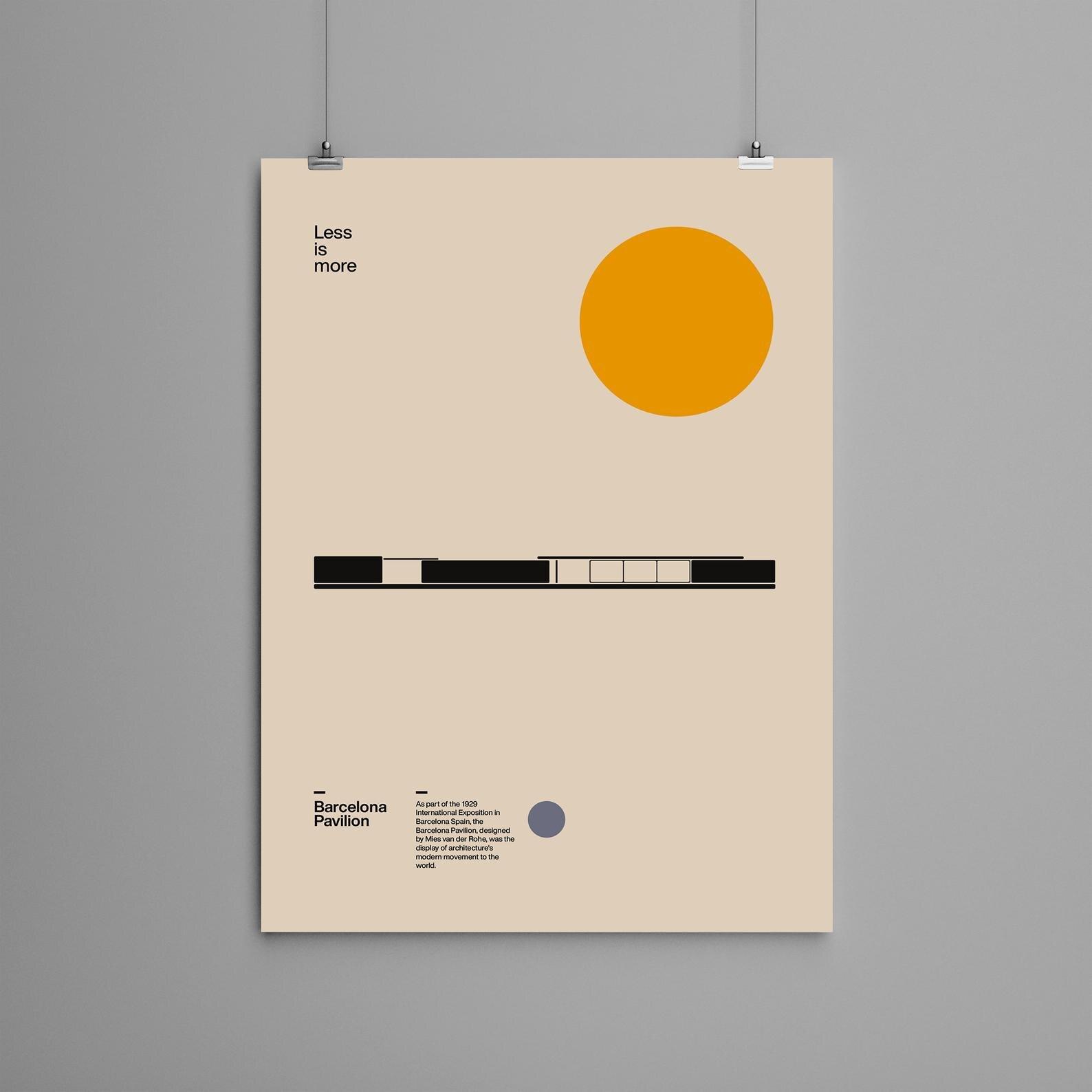Cartel del Pabellón de Barcelona, Ludwig, Mies, van der Rohe, arquitectura minimalista,...