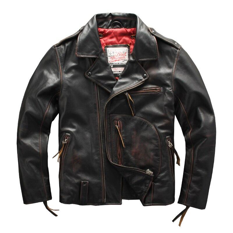 2021 Vintage جلد طبيعي أسود سترة الرجال دراجة نارية نمط حجم كبير 6XL ريال الطبيعية جلد البقر الشتاء الدافئة السائق معطف