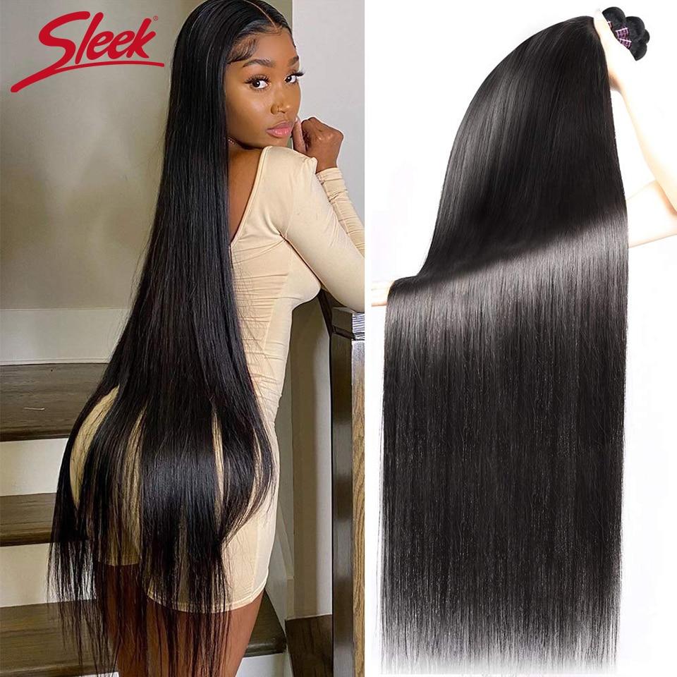 Sleek Straight Brazilian Hair Weave Bundles Deal Human Hair Extension 8 To 40 Inch  Remy 1/3/4 X Rea