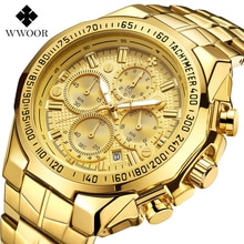 WWOOR luxe or montre hommes haut marque Sport montres pour hommes étanche Quartz homme montre-bracelet chronographe reloj deportivo hombre