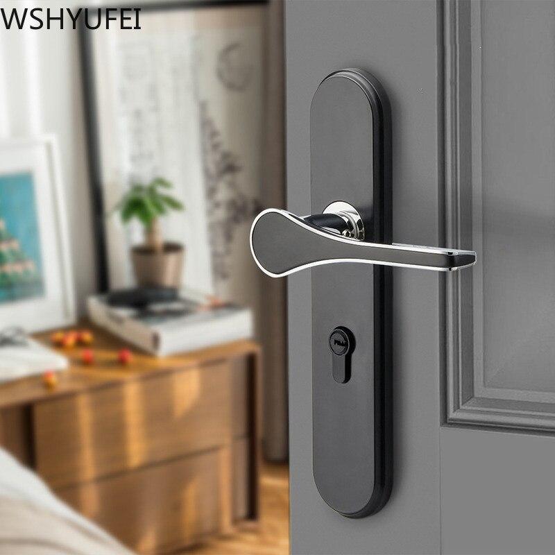 بسيط أسود مقبض باب من سبائك الزنك قفل غرفة نوم الداخلية الميكانيكية مكافحة سرقة الأمن Lockset كتم قفل الأجهزة المنزلية