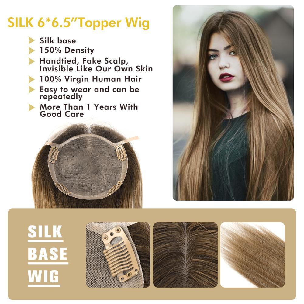 """MW Base de seda, piezas superiores del pelo para las mujeres rectas Remy pelo humano Natural Topper pelucas 16 """"20"""" 6*6,5 """"150% densidad FedEx entrega"""
