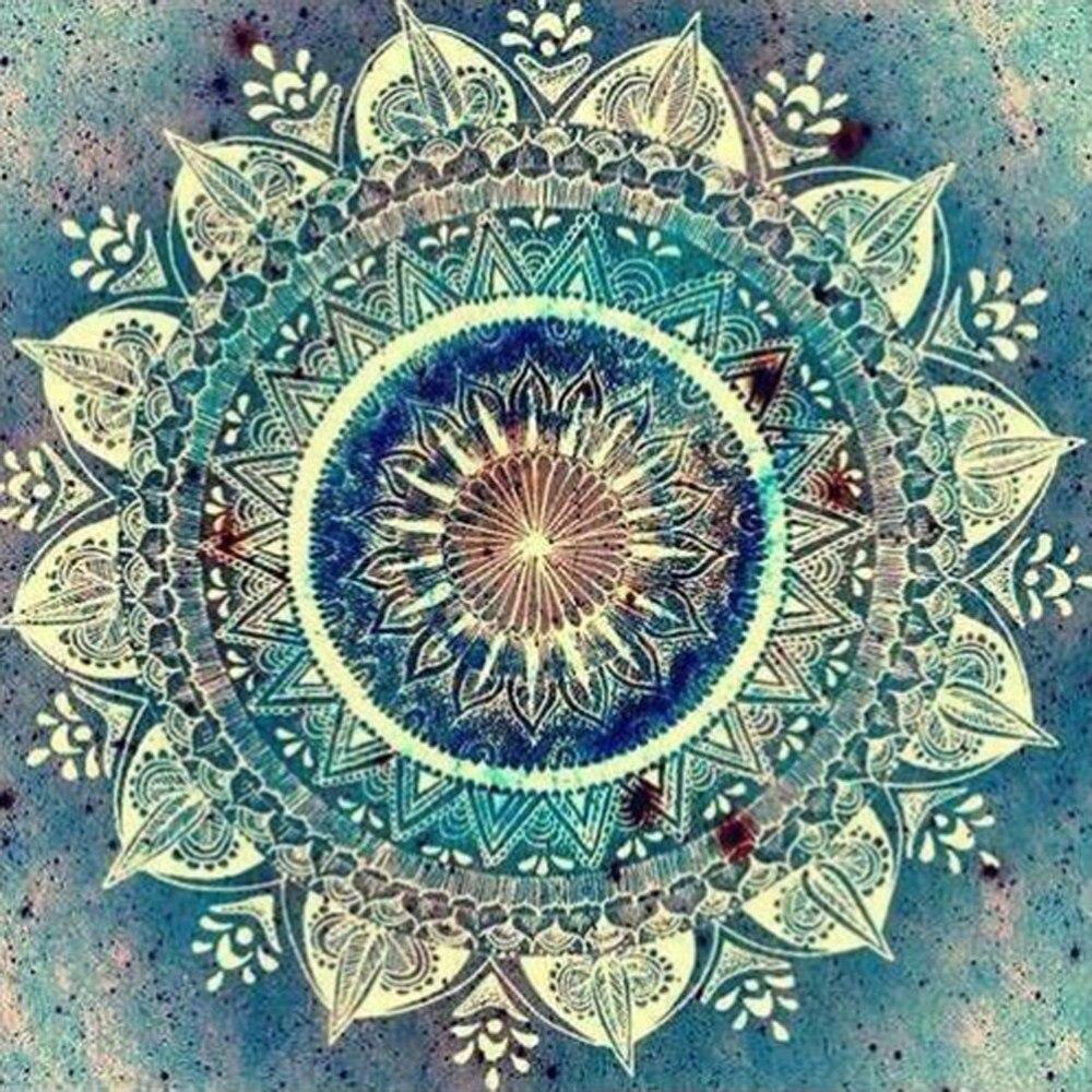 Completa 5D Diy pinturas de diamantes de imitación, pintura de diamantes en 3D con Mandala abstracto, diamantes de imitación redondos, decoración de flores bordadas