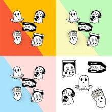 1PCS Cute Cartoon Ghost Music Box Brooch Enamel Pins Lapel Badge Bag Cartoon Funny Jewelry Gift for
