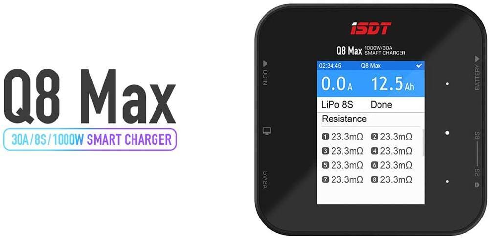 Isdt q8 500 w 20a 2-8 s/q8 max 1000 w lipo bateria carregador de equilíbrio para lilon lipo lihv nimh pb rc modelos