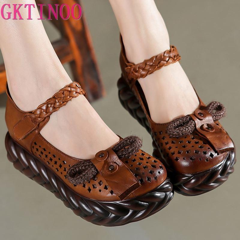 GKTINOO/весенняя обувь ручной работы; женские туфли-лодочки на танкетке; женская повседневная обувь из натуральной кожи с резным узором на высо...