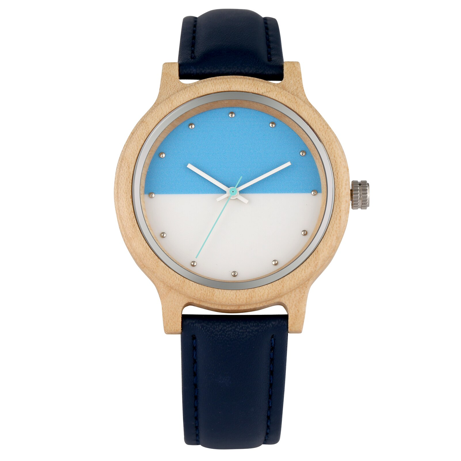 New Fashion Wood Watches Women Men Simple Two-color Ladies Clock Quartz Wooden Wristwatch Leather Strap Female Watch Reloj Mujer enlarge