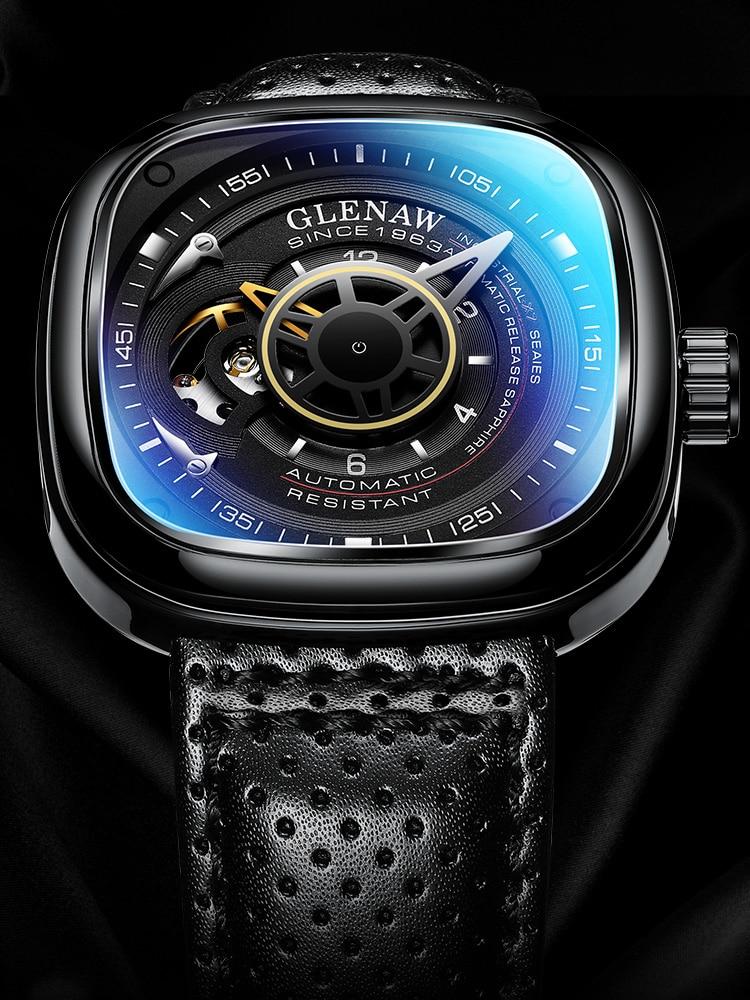 جليناو 2019 أفضل العلامة التجارية الفاخرة ساعة رجالي 30 متر مقاوم للماء تاريخ ساعة مربع رجل ساعة ميكانيكية العسكرية ساعة اليد Relogio