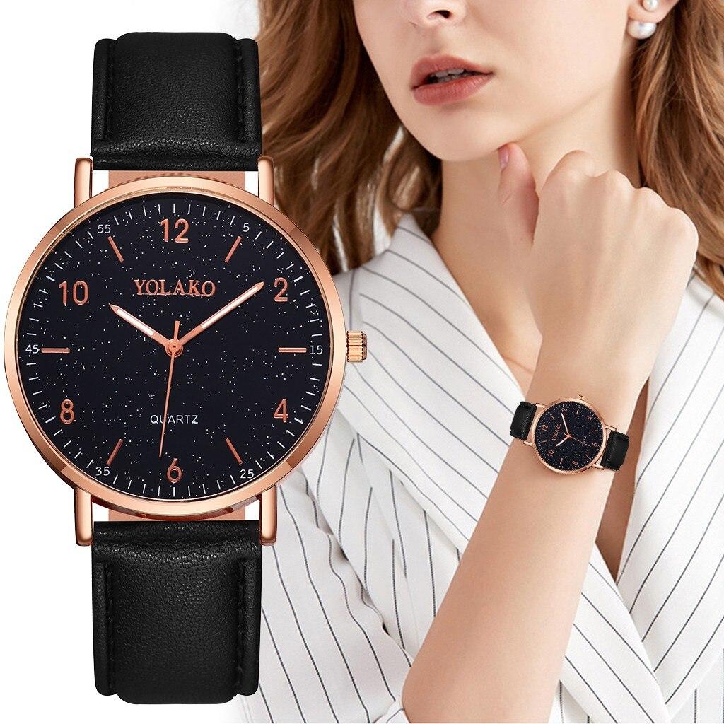 Reloj de oro rosa para mujer, reloj negro para mujer, 2020, reloj para mujer, zegarek damski, mochilas