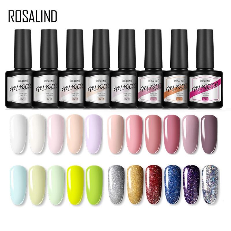 Гель лак для ногтей ROSALIND, 8 мл, гибридные лаки для дизайна ногтей, Полупостоянный чистый цвет, требуется база и топ для дизайна ногтей, все для маникюра Гель для ногтей      АлиЭкспресс