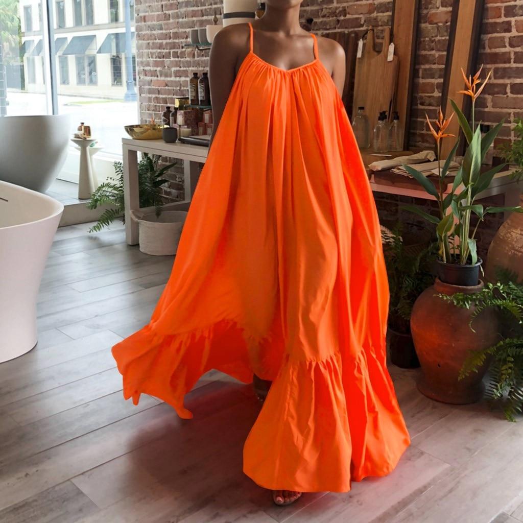 UETEEY Summer Dress Women Sexy Sleeveless Ruffled Maxi Long Casual Loose Solid Pleated Beach Vestido Robe Plus Size