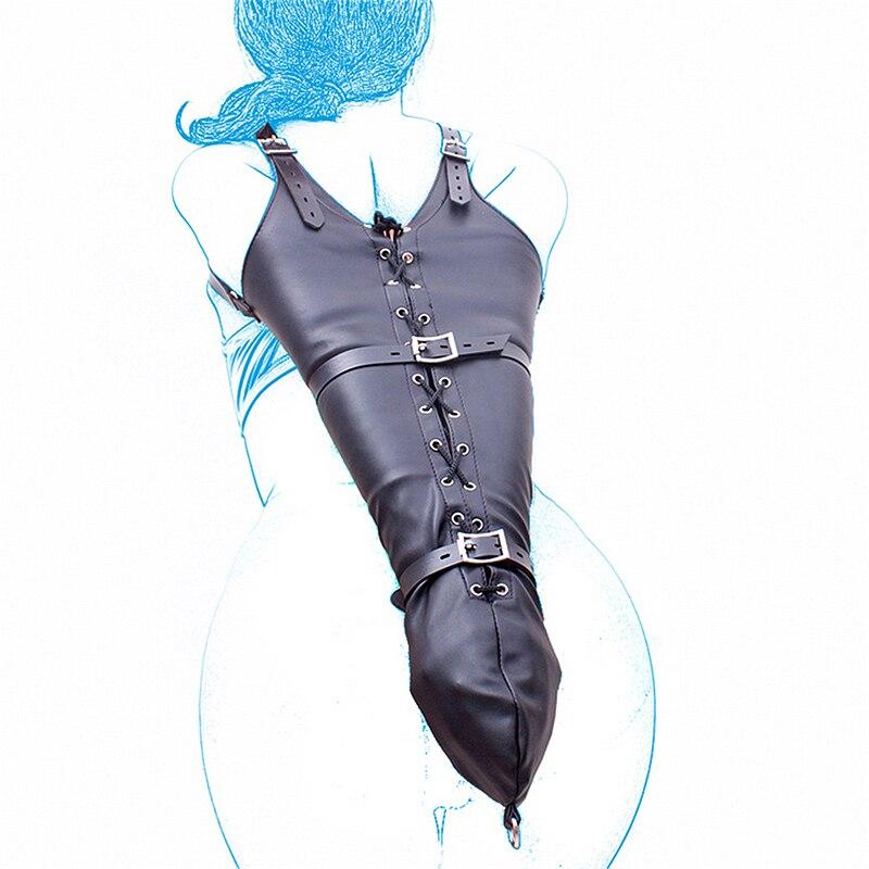 Bondage BDSM restricciones de juego de rol manos muñeca brazo pierna carpeta Hood PU cuero apretado guante individual adultos disfraces esclavo juguetes sexuales