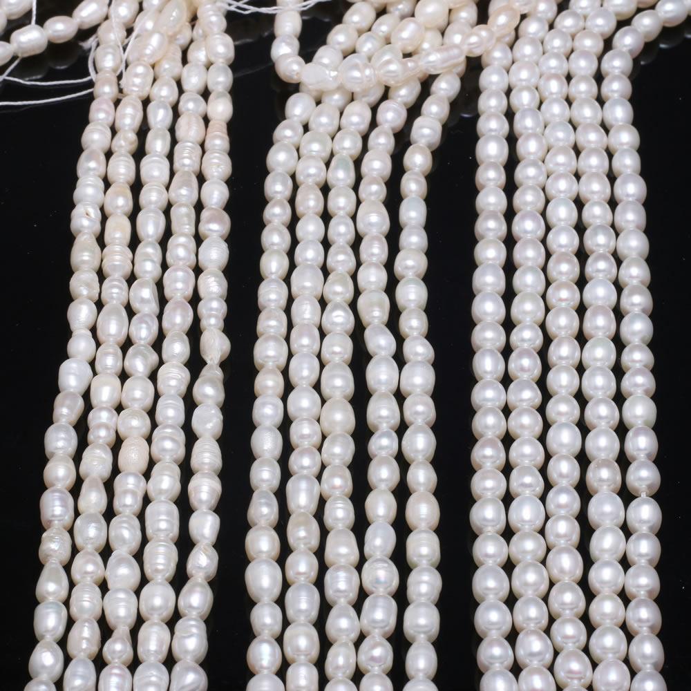 Forma de arroz pérola grânulo natural pérolas barrocas de água doce para colar pulseira jóias que faz diy grânulos de arroz branco 4-5mm