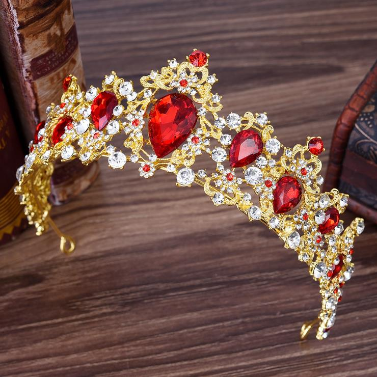 Oro, barroco Multicolor De lujo corona De cristal De Reina diadema De...