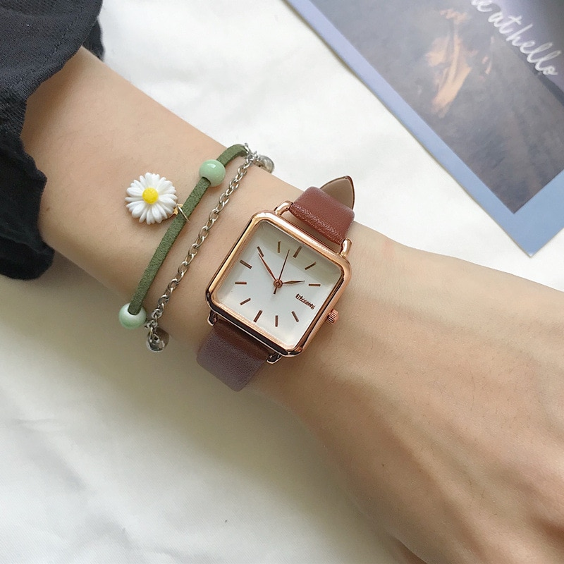 Minimalist Square Women Quartz Watches Qualities Ladies Leather Wristwatches Ulzzang Fashion Brand Simple Female Watch Gifts