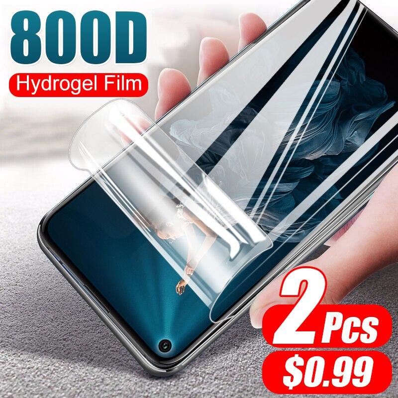 2 películas suaves de hidrogel 800D, no de cristal para Huawei Honor 20 Pro 9X 8X 10 9 8 Lite 20S, Protector de pantalla, película protectora completa