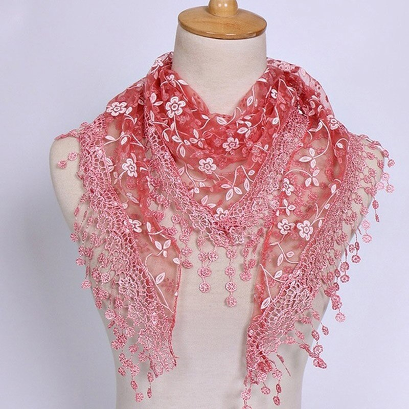 1PC New Women Fashion Triangle Tassel Wrap Lady Shawl Lace Sheer Floral mesh Scarf autumn Scarves Fo