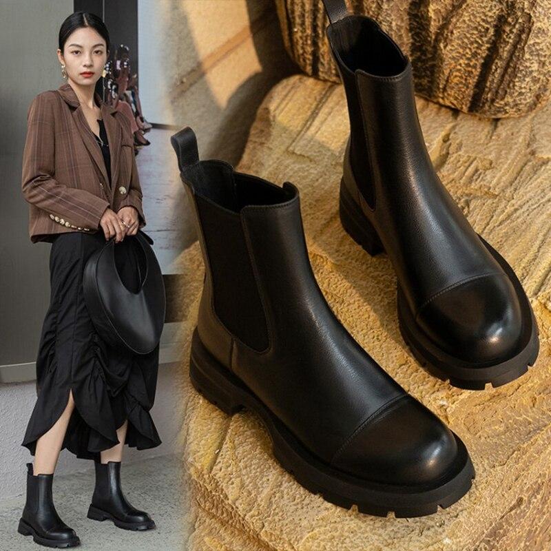 2021 الخريف/الشتاء أحذية النساء الجلود حذاء من الجلد النساء جولة تو كعب سميك النساء الأحذية الصلبة تشيلسي الأحذية أحذية النساء غير رسمية