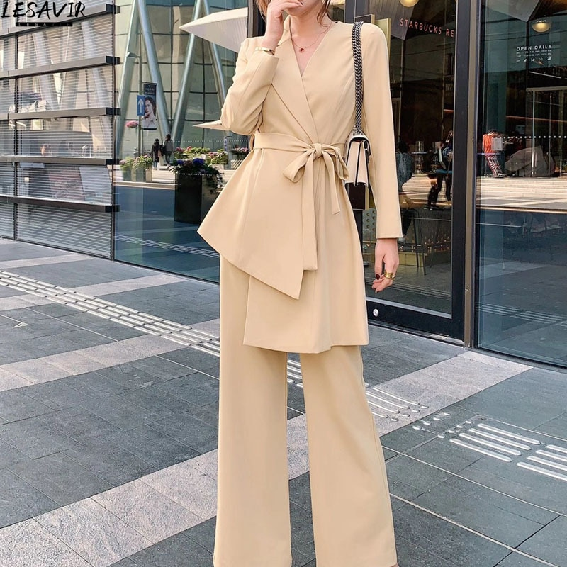 2021 Spring And Autumn Women's New Style Irregular Top Trousers Khaki Suit Office Lady Elegant Female