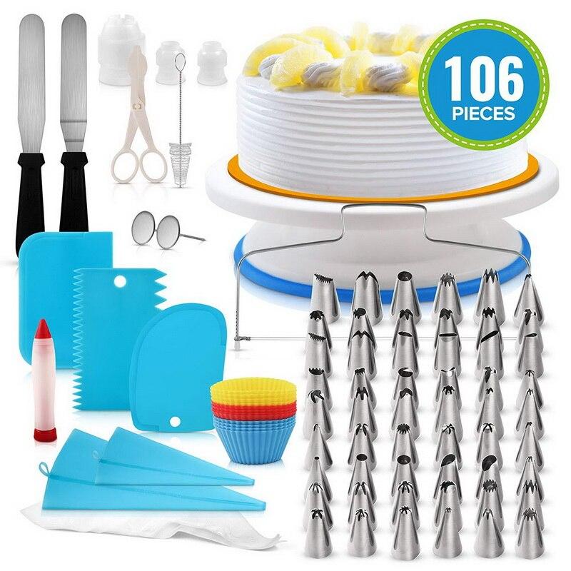 106 шт./компл., креативный набор для украшения торта, Кондитерская трубка, помадка, инструмент для кухни, десерт, Кондитерские принадлежности, торты, поворотный стол, набор, хит