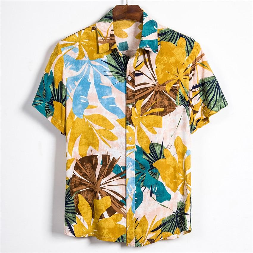Short Sleeve Men Shirt Hawaii Shirts 2020 Summer Printed Short Sleeve Shirt Soft Male Beach Hawaiian Shirt Chemise Homme 3XL