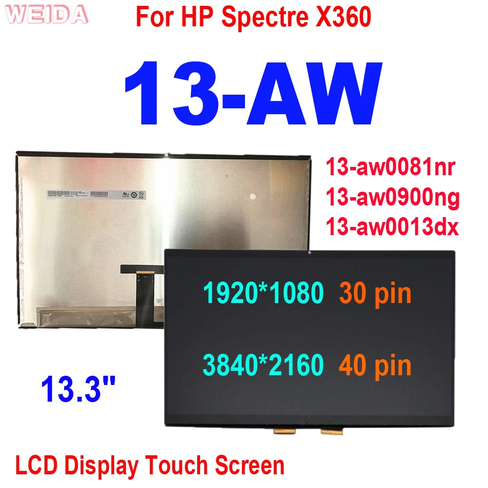 13.3'' LCD For HP Spectre X360 13-AW Series LCD Display Touch Screen Digitizer Assembly 13-aw0081nr 13-aw0900ng 13-aw0013dx LCD