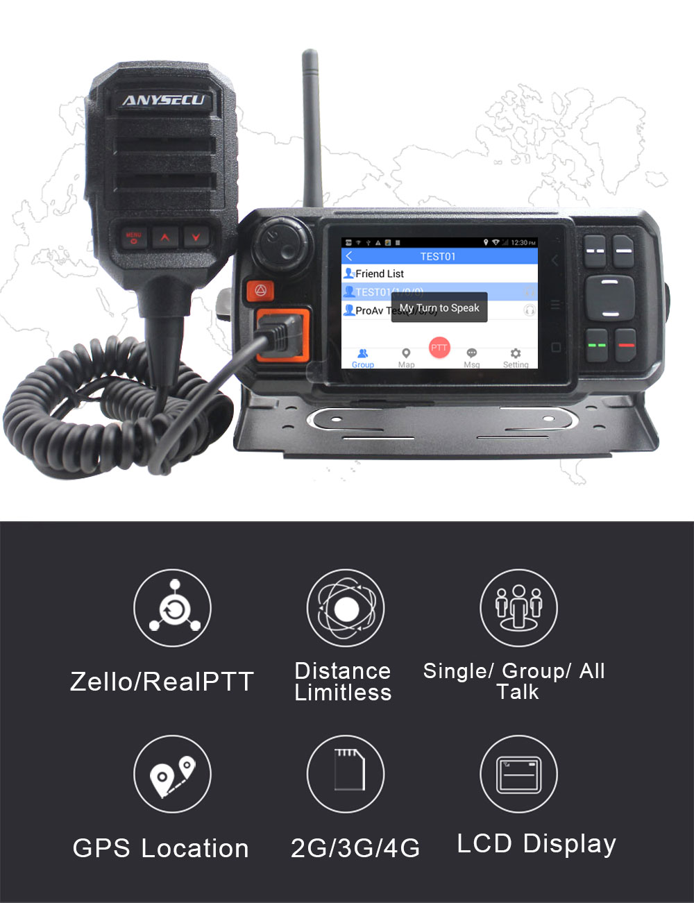4G LTE Network Radio N60plus 4G-W2plus Android System RAM+ROM 1GB+8GB MT6737M GPS Function work with Zello PTT enlarge