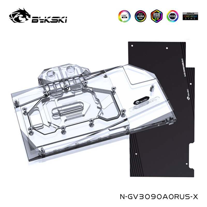 Bykski GPU كتلة المياه ل جيجابايت غيفورسي RTX 3090 AORUS 24G ، 3080 10G ، مع عودة لوحة Watercooler ، N-GV3090AORUS-X
