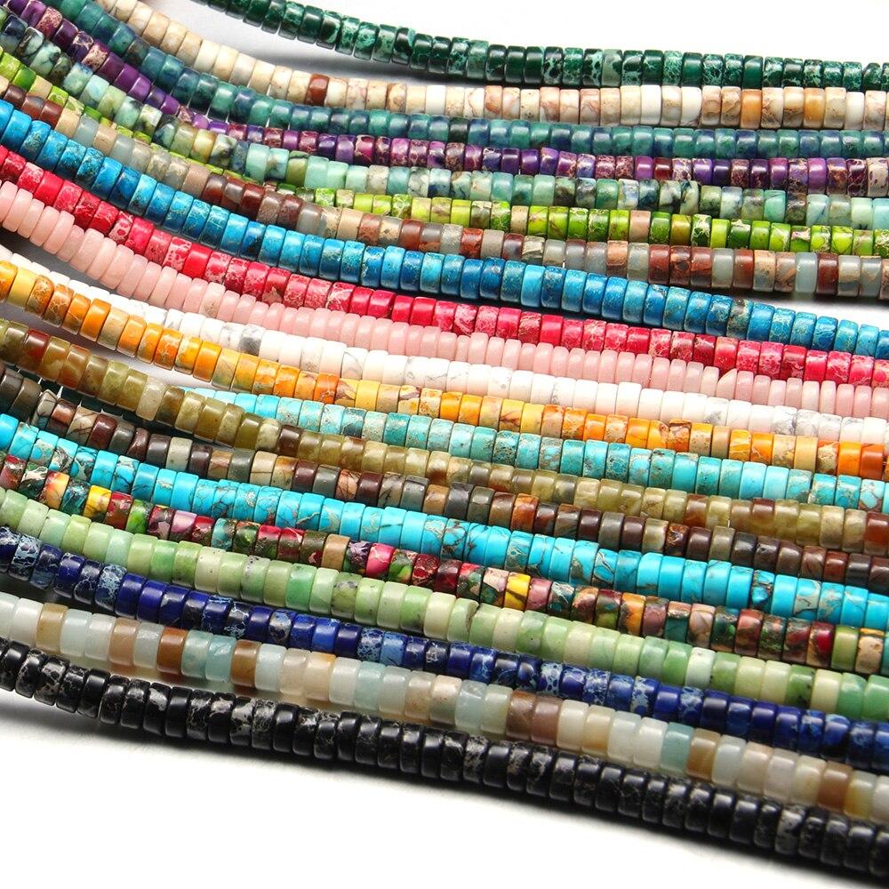 Cuentas de piedra Natural, ágatas, forma cilíndrica, cuentas de ábaco, cuentas espaciadoras sueltas para la fabricación de joyas, accesorios para pulseras DIY