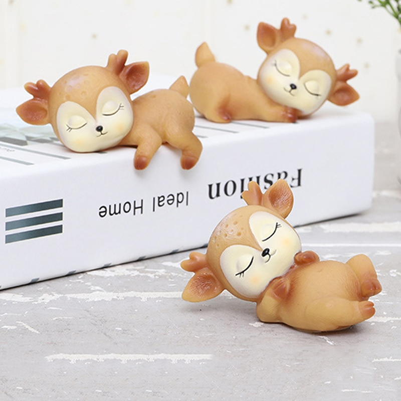 CXD-Deer Figurines Toys Home Decor Resin Ornament Cake Topper Party Desktop Decoration For Birthday Gift