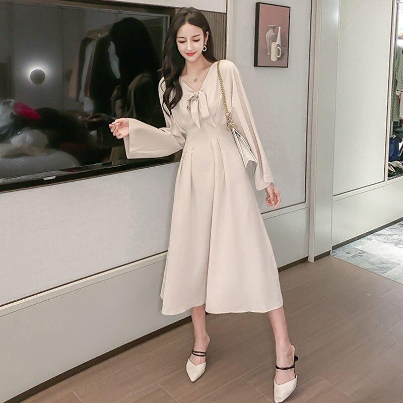 Элегантное платье с бантом, женское платье трапециевидной формы с длинным рукавом, модное винтажное платье с рукавами-плащами, vestidos
