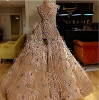 2020 luxury split prom dress ball gown beading chamgape tulle feather crystal classic customizable formal evening gowns
