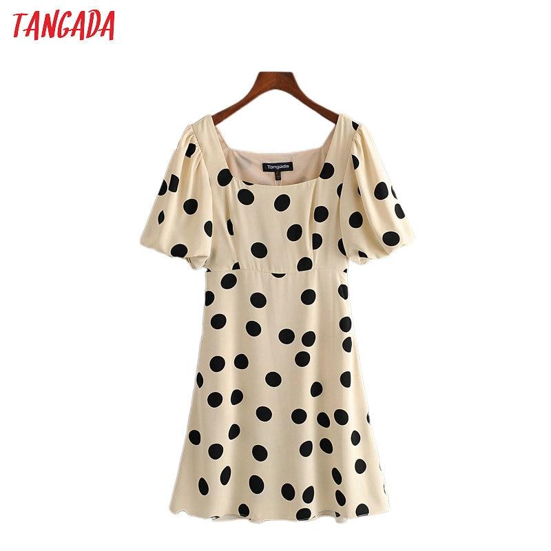 Tangada fashion women dots print summer dress square neck short sleeve ladies vintage 70s dress vestidos 3H611