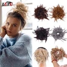 LUPU Synthetische Chignon Chaotisch Scrunchies Elastische Band Haar Brötchen Gerade Hochsteckfrisur Haarteil Hohe Temperture Faser Natürliche Gefälschte Haar
