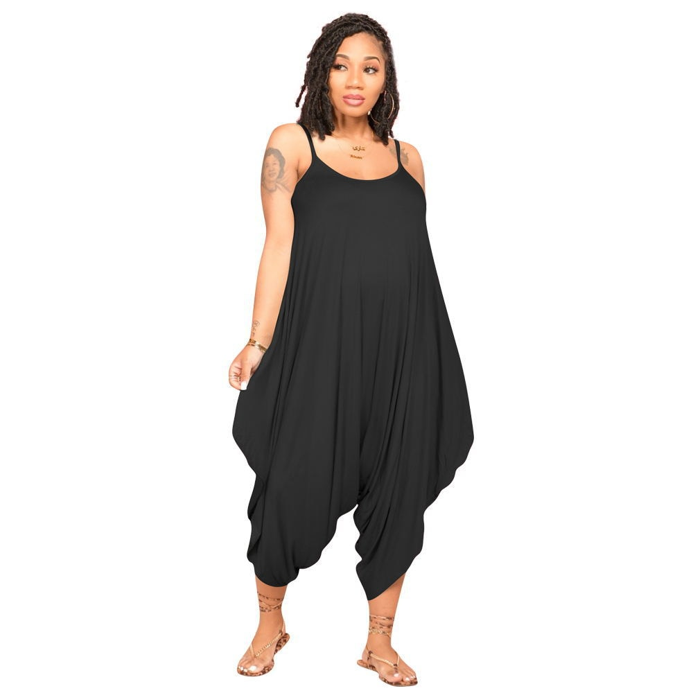 European and American Women Jumpsuit 2021 Summer New Sexy Solid Color Sling Wide-legged Fashion Loose Casual Jumpsuit Donsignet 2020 new women s jumpsuit european and american rompers fashion casual solid color plain zip mask jumpsuit