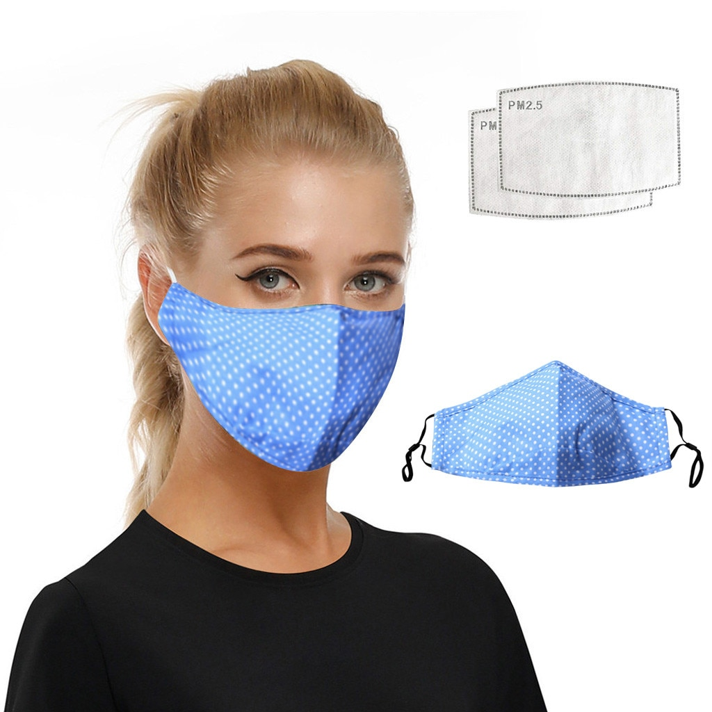 1 Mask+2 Filter Dustproof Washable Facemask Fashion Pm2.5 Anti Pollution Protective Mask Reusable Sports Face Masks Facemasks