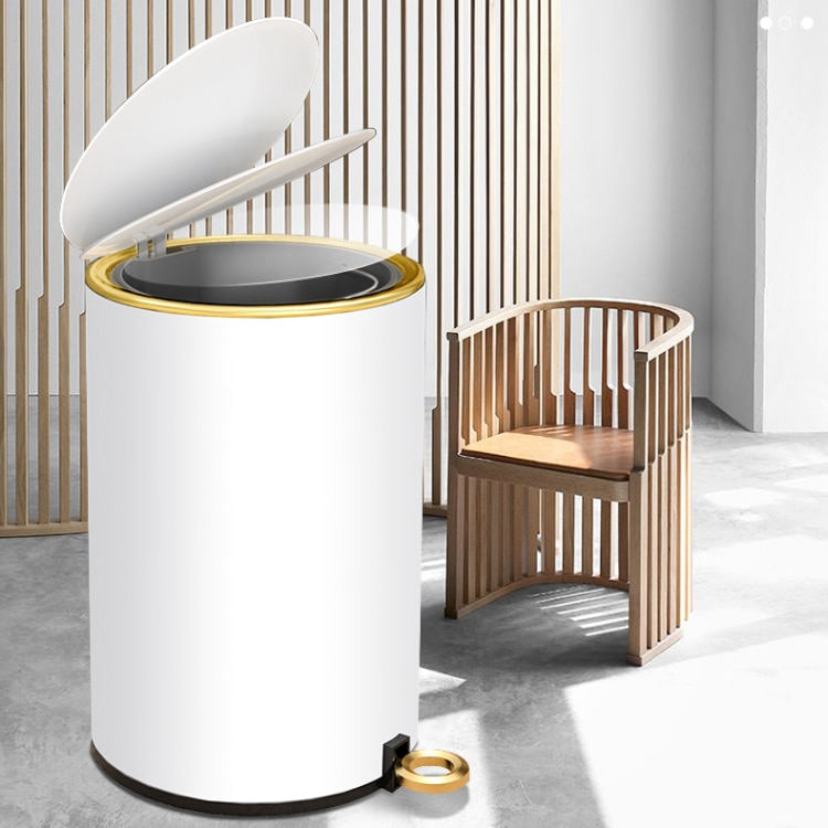 Waterproof Nordic Waste Bin Stainless Steel Luxury Press Kitchen Trash Can Living Room Cubo Basura Household Products enlarge