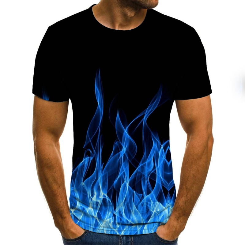 2020 new flame men's T-shirt summer fashion short-sleeved 3D round neck tops smoke element shirt tre